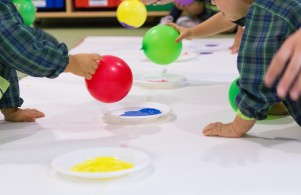First year classroom – painting with balloons